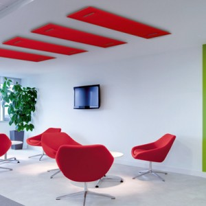 Brightly lit ultra chic reception area within modern commercial office